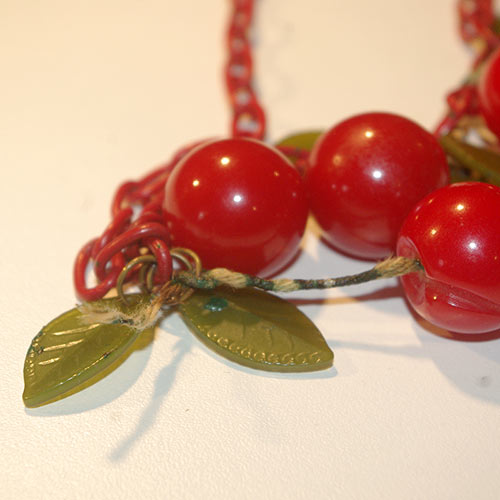 A close-up of the necklace showing the original state of the stems