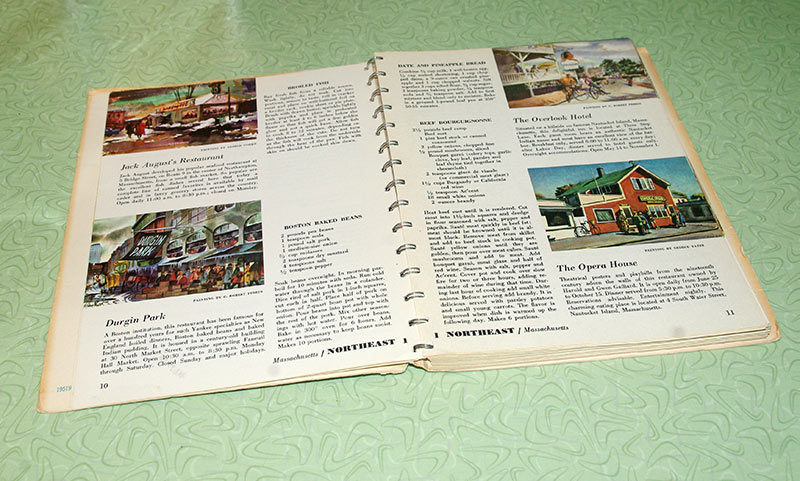 A page spread, showing the illustrations of the different restaurants.
