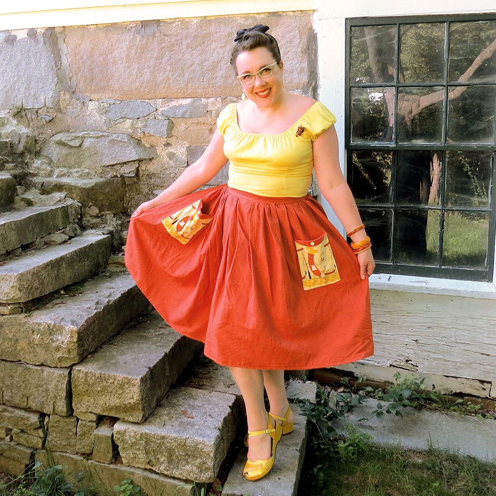 Modeling my new skirt.  The top is from Pinup Girl Clothing, shoes by Rocket Originals and jewelry all vintage.