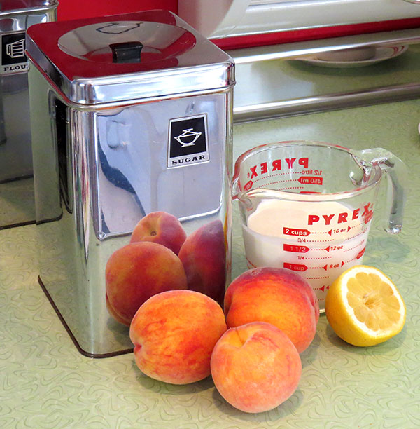 Peach ice cream ingredients.