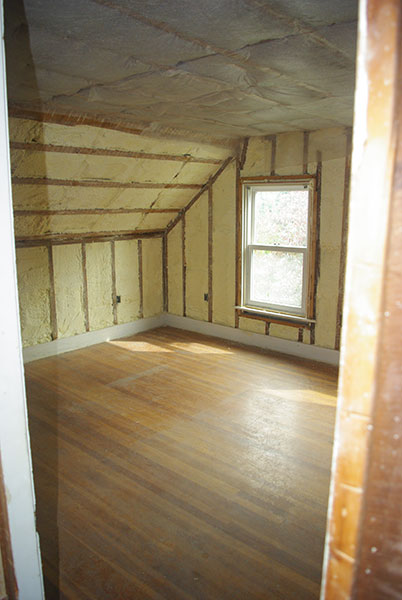 Newly insulated bedroom
