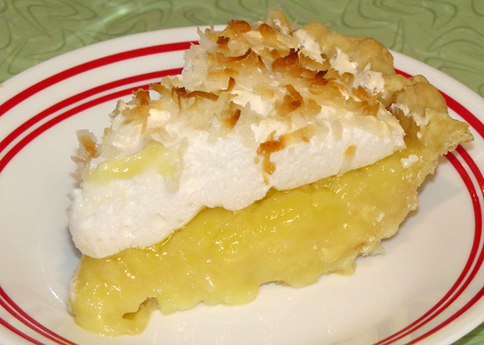 A yummy slice of coconut cream pie