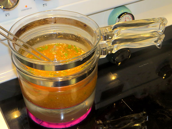 The soup cooking in my double boiler