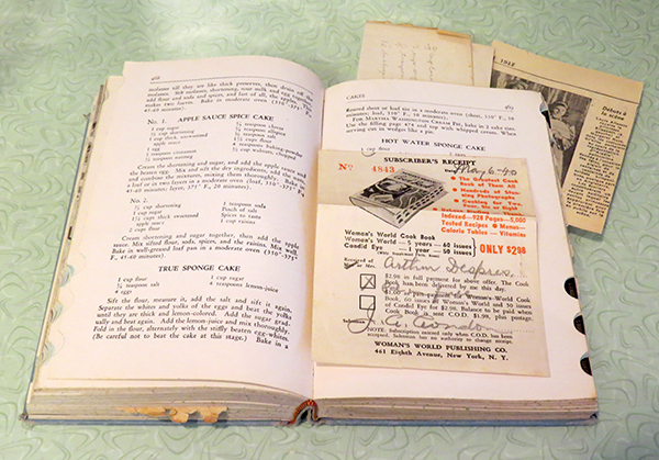 The sponge cake recipe with some clippings and the original sales receipt from 1940.
