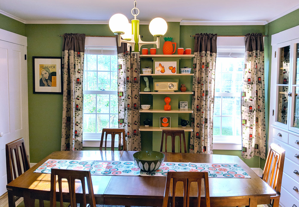 "Our final dining room and vintage mid-century table and chairs found at ""Just L"" in Littleton, NH."