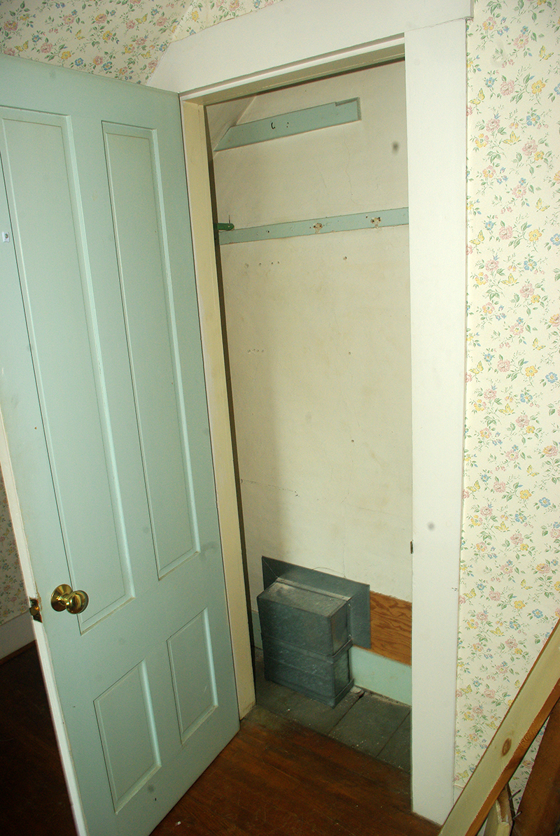The original closet next to the chimney.