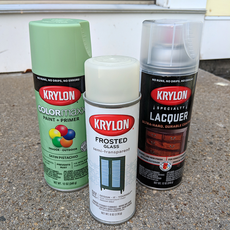 """Krylon """"Pistachio"""" paint along with some of the other products used for this project."""
