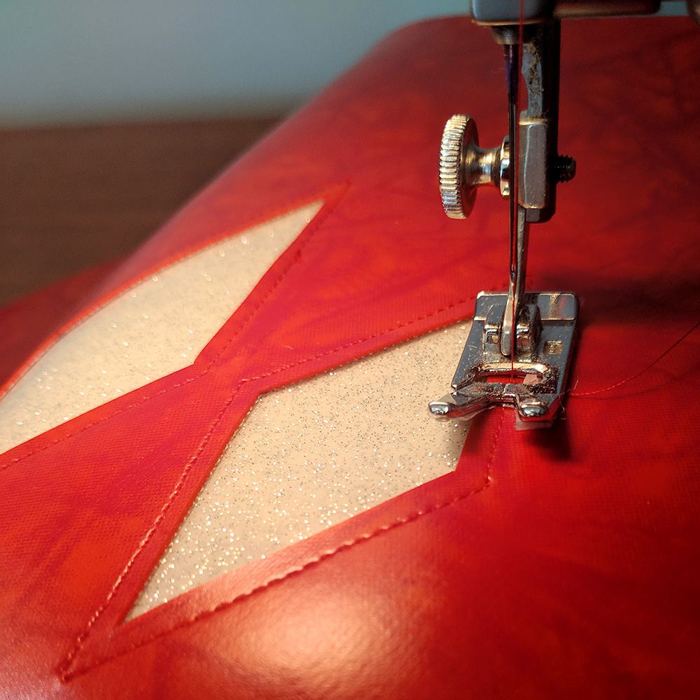 Topstitching the diamonds
