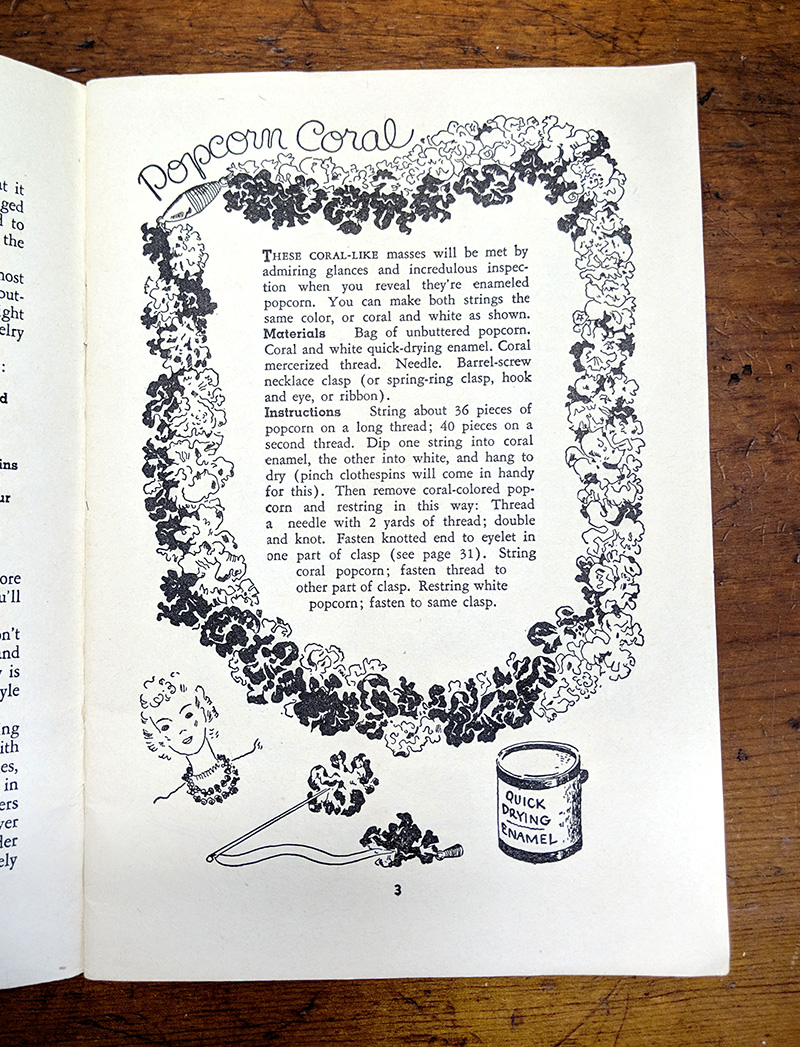 Instructions for the Popcorn Coral necklace. I can't imagine the resulting necklace will look like anything but painted popcorn.