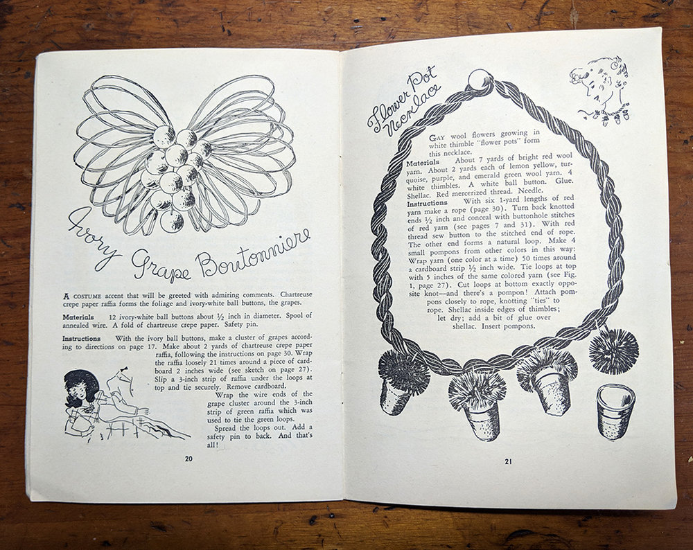 The instructions for the Ivory Grape Boutonniere and the Flower Pot necklace. Like the Flower Pot necklace, I think the Grape Boutonniere is one of the better designs in the book.