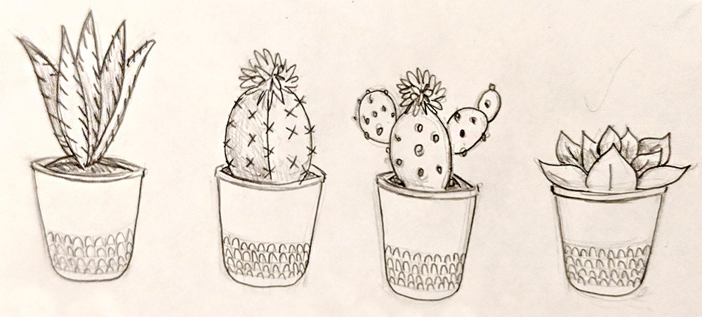 Sketches for the potted plant necklace