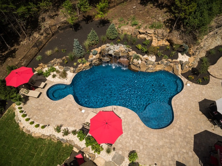 Custom Pools By Design pool design natural sophisticated waterfall fountain with rock stairs and water slides for custom pool 18 Pools By Design Nj Custom Pools Spas