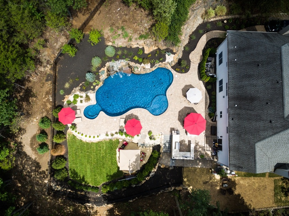 Custom Pools By Design pool design exceptional inground custom pool design with long slides and big fountain and red 12 Pools By Design Nj Custom Pools Spas