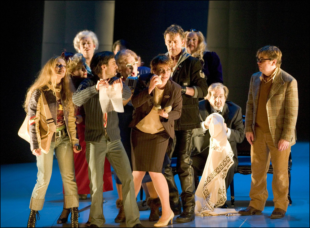 Far right as Sospiro in  L'Opera Seria  at the Nationale Reisopera, with (from left) Henrike Jacob, Sally Silver, Ralf Popken, Benoît Bénichou, Seán Osborne, Johannette Zomer, Maarten Koningsberger, Robert Burt and Jean-Phillipe Marlière. © Hermann and Clärchen Baus