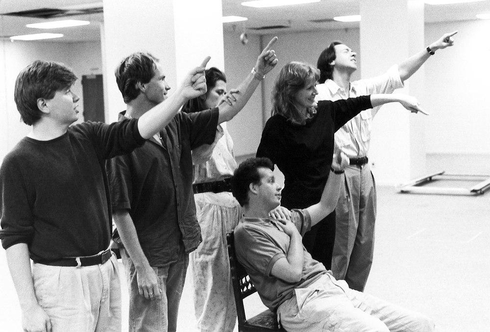 Rehearsal of the final scene of Handel's  Partenope , Opera Omaha. From left to right: Steven Tharp, Drew Minter, Jennifer Lane, Dawn Kotoski and William Sharp. Seated: Steven Rickards.