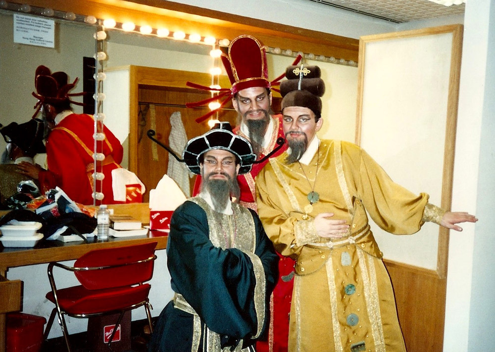 Far right as Pong in  Turandot , with Frank Ream as Pang (right) and Richard Byrne as Ping (center). Hong Kong Festival Opera.