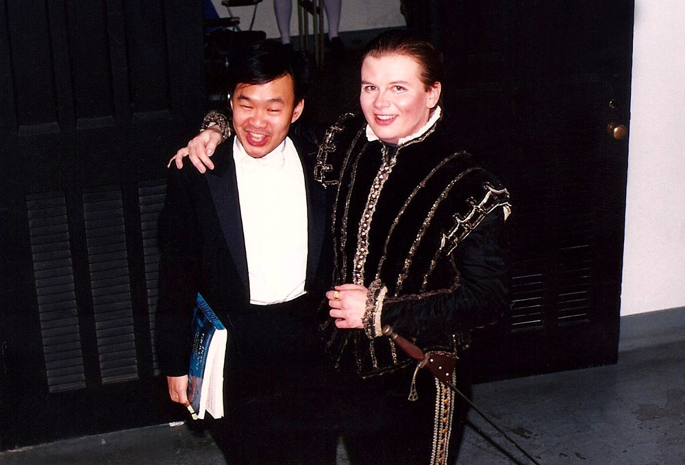 Backstage as Don Ottavio in  Don Giovanni  with conductor Michael Ching. Triangle Opera Theater, N.C.