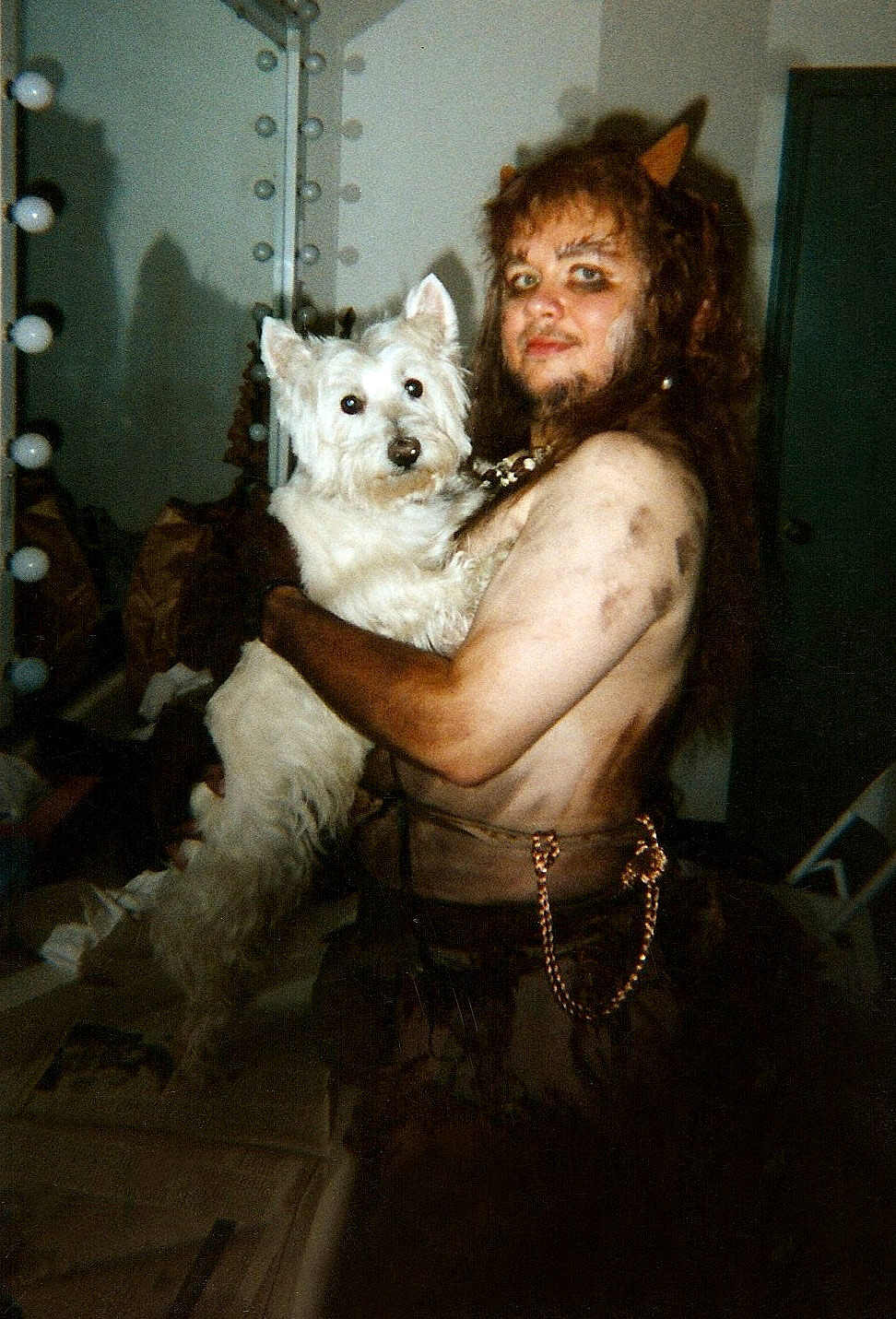 Backstage at Glimmerglass Opera: As Pan in  La Calisto  with Jocko the Westie.