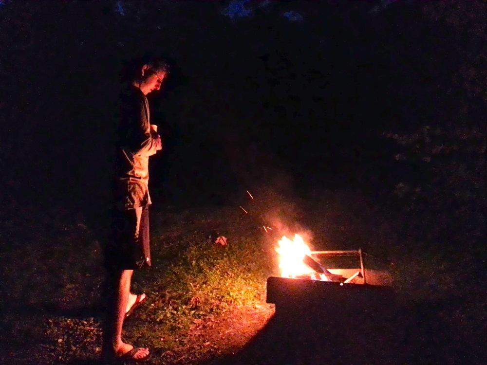 McCrae admiring the healthy blaze.