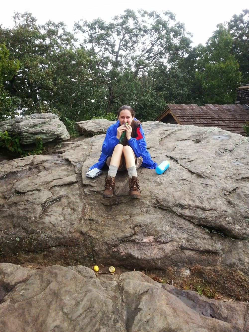 Windbreaker, Clif bars, and shivering on the rock ledge on Blood Mountain.