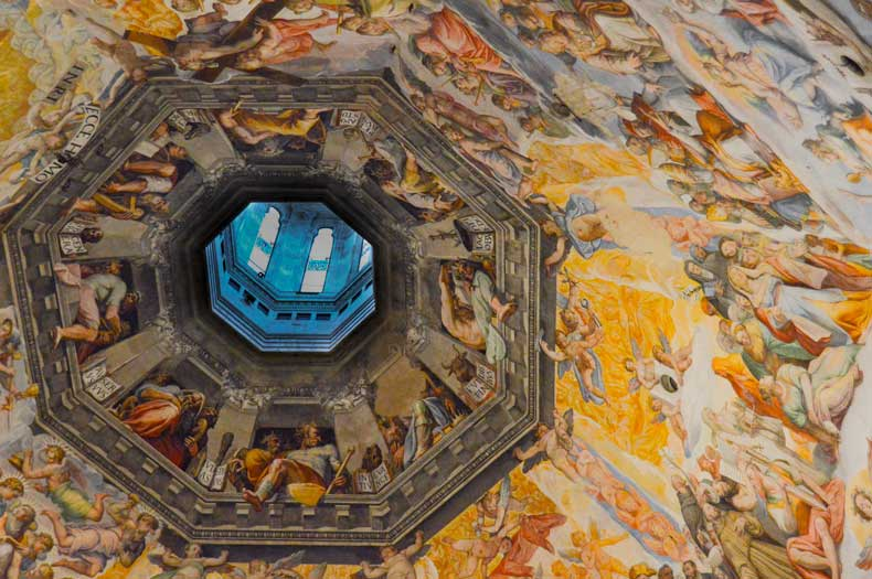 The inside of the dome is frescoed by Vasari and Zuccari. The paintings depict The Last Judgement and are some of the largest paintings in the world.