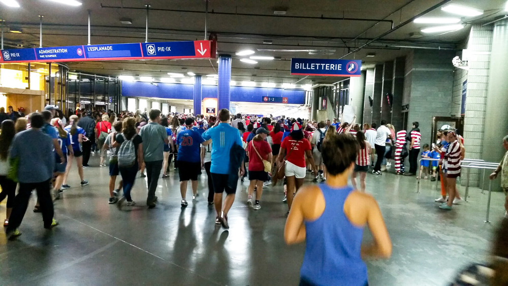 This was the scene of the stadium exit after the semifinal game in Montreal. The metro was overwhelmed with the traffic from ecstatic fans.