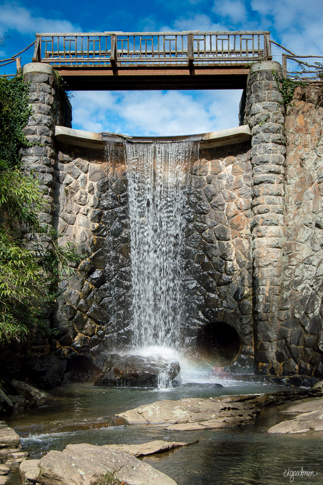 The waterfall leading away from the bass pond at Biltmore.