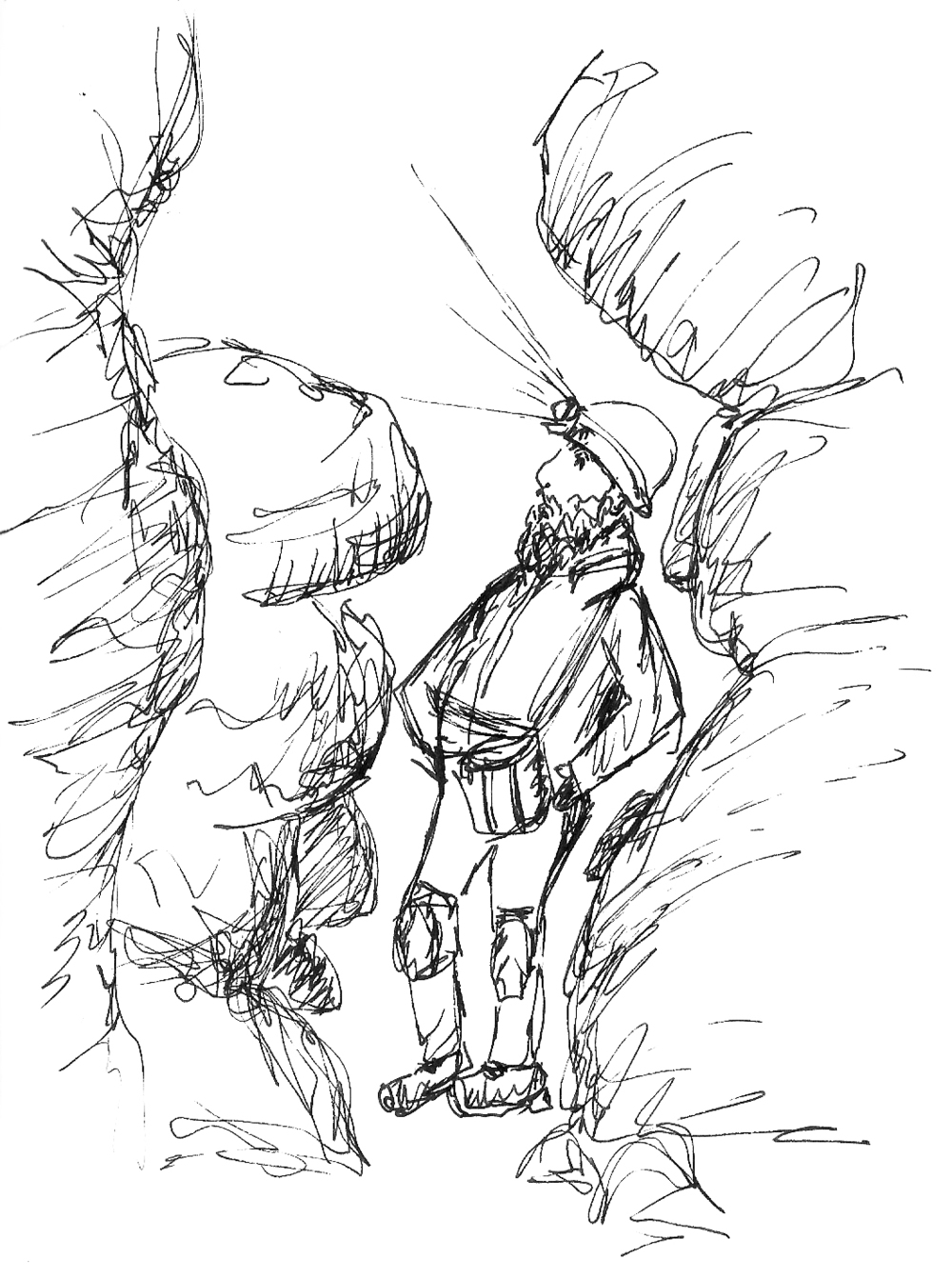 Pen sketch of a tour guide in Mammoth Cave National Park (sketch by E. K. Goodman)