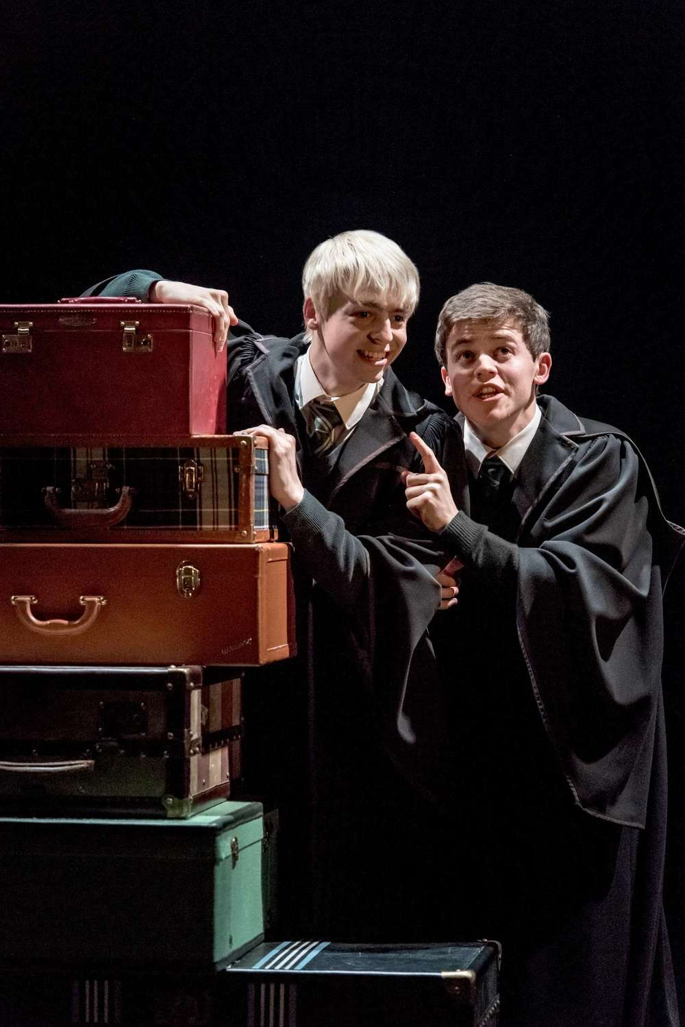 Production photo. L-R Anthony Boyle (Scorpius Malfoy) and Sam Clemmett (Albus Potter); Photo by Manuel Harlan - http://www.harrypottertheplay.com/