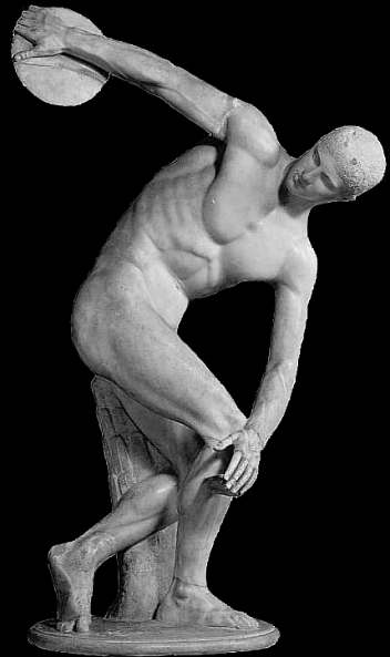 Myron's  Discobolos,   450 BCE - Roman marble copy.   http://www.brown.edu/Departments/Joukowsky_Institute/courses/greekpast/4889.html