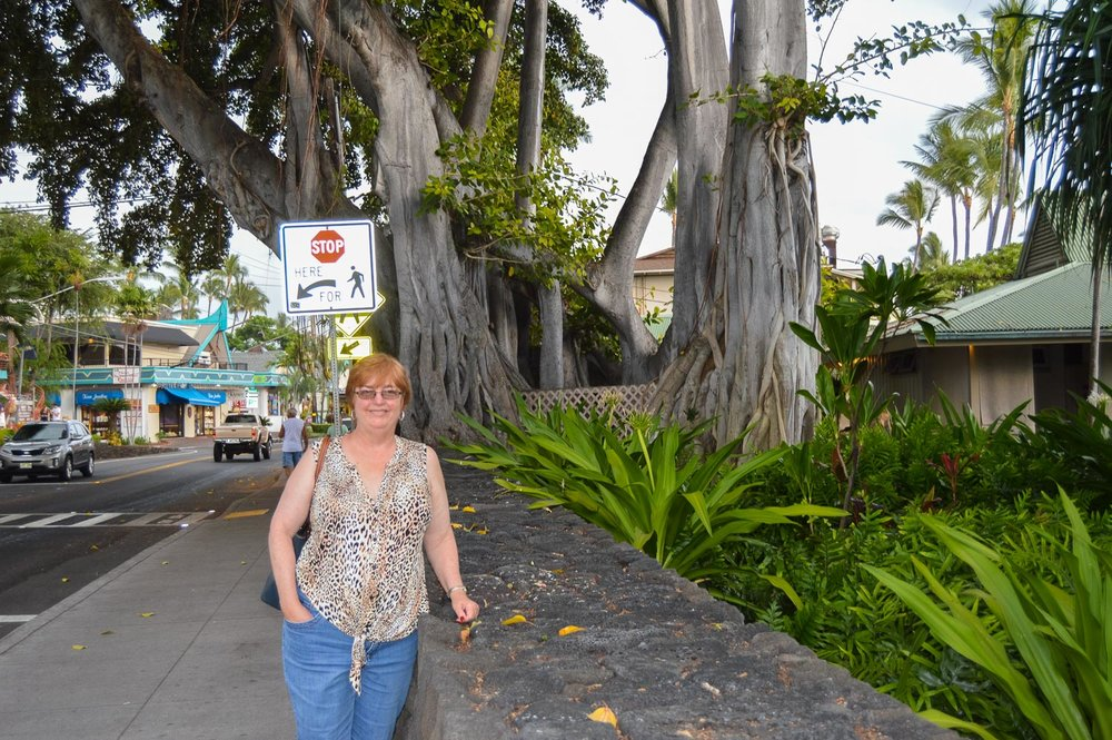 I conned Mom into posing near the Ironman Kona finish line. Thanks Mom!