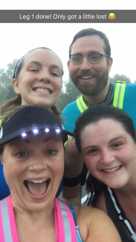 Solid run from great runners: (clockwise from top left) Kelly, Travis, me, and Heather. Snapchat photo credit:  Heather Jacobson