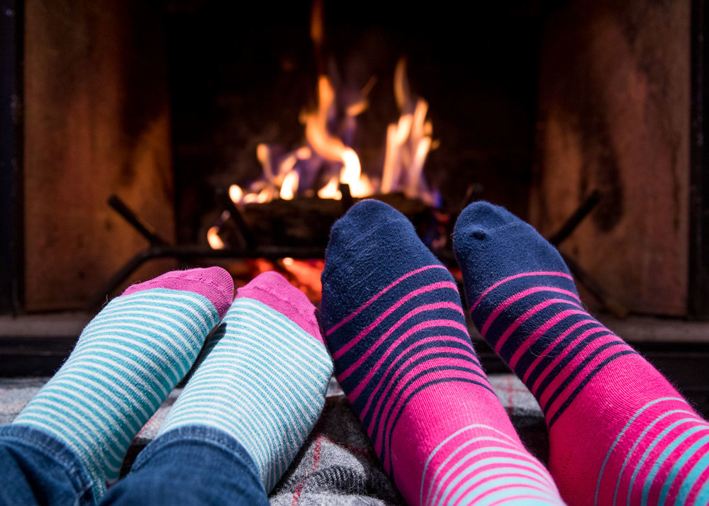 Of course I managed to get McCrae sick too. My bad. At least we were cute curled up by the fire with our funky socks.