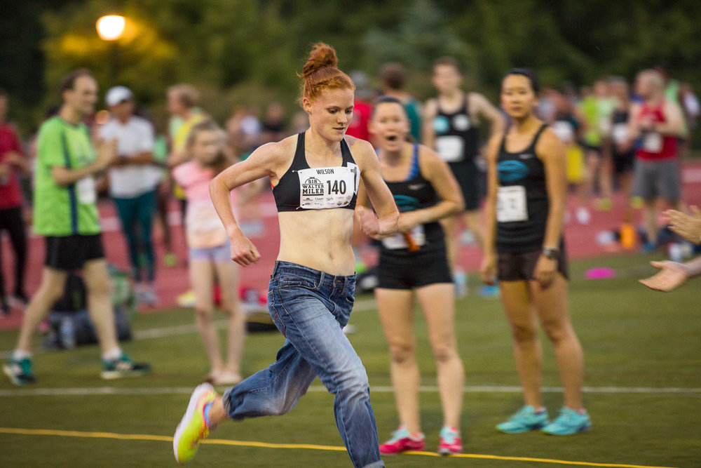 Heather Wilson set a new world record for the fastest denim mile run by a female runner (4:58.84)