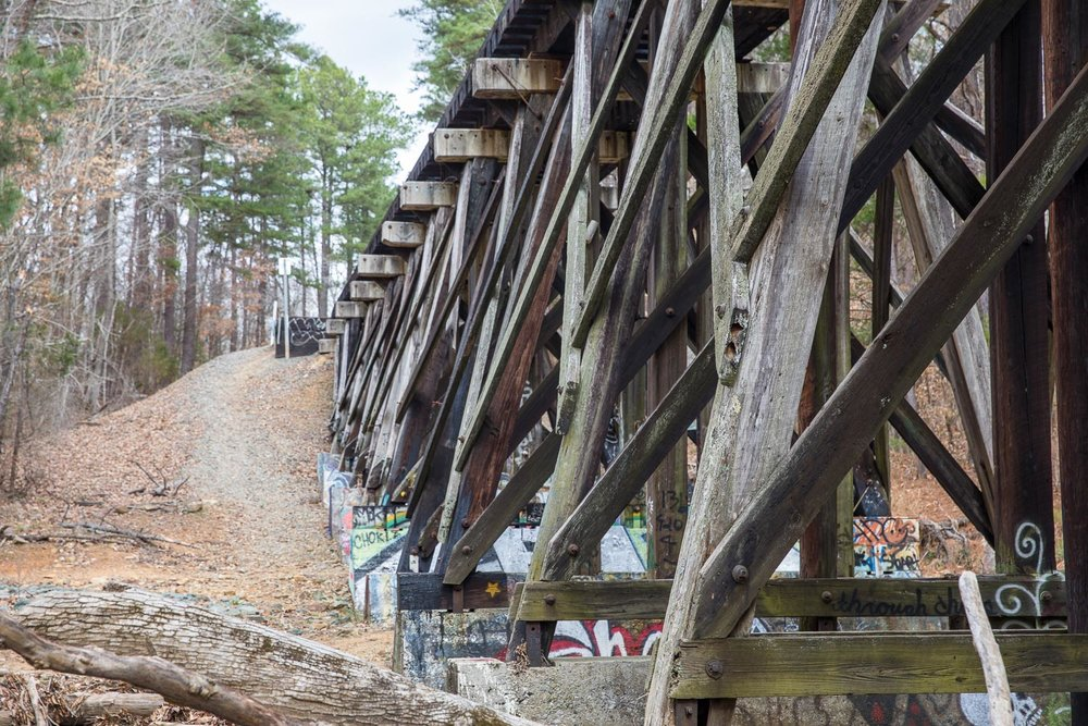 Railroad bridge in Adams Tract in Carrboro