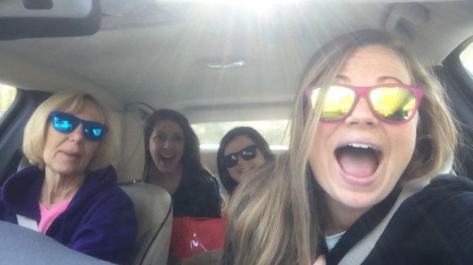 All of us having fun on the drive to Charleston!