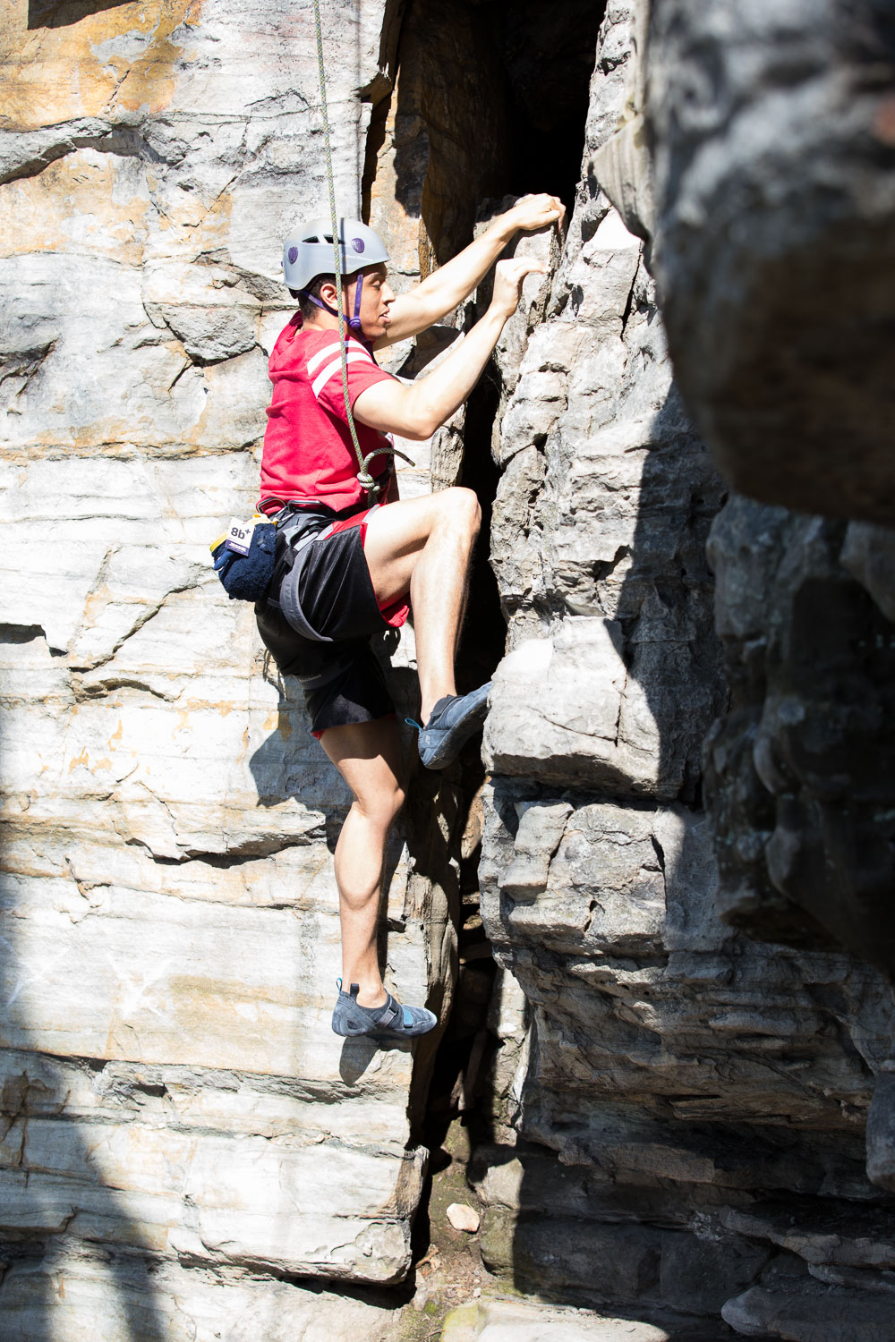 Christian climbing at Pilot Mountain