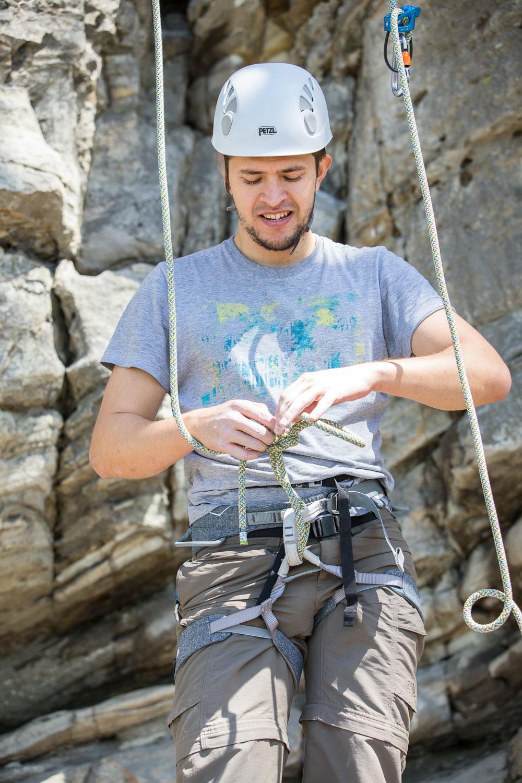 Emmanuel climbing at Pilot Mountain