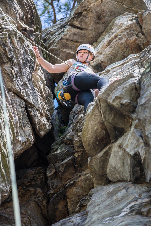 Sami climbing at Pilot Mountain