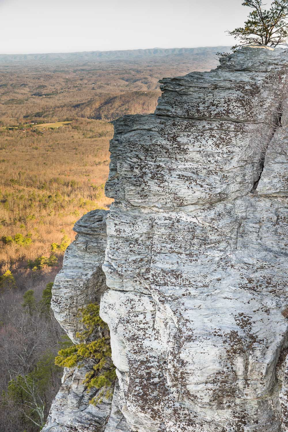 One of the iconic cliffs of Hanging Rock. (No, you're not actually supposed to climb on Hanging Rock summit though; you hike to the top of this rock cliff.)