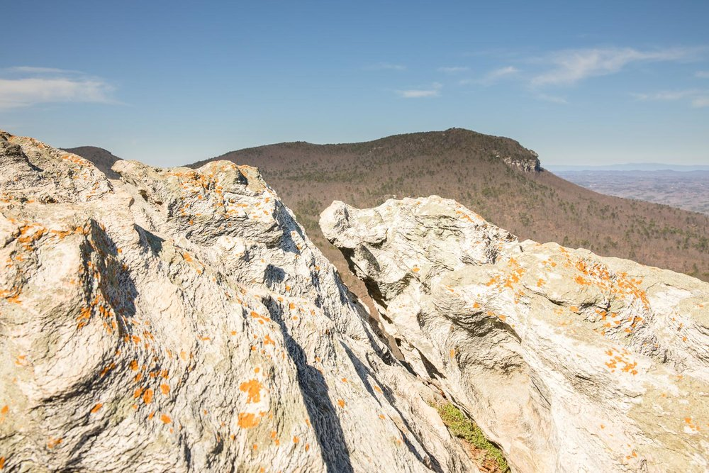 From here (the summit of Hanging Rock) you can see Moore's Wall, and the rock cliff climbing walls.
