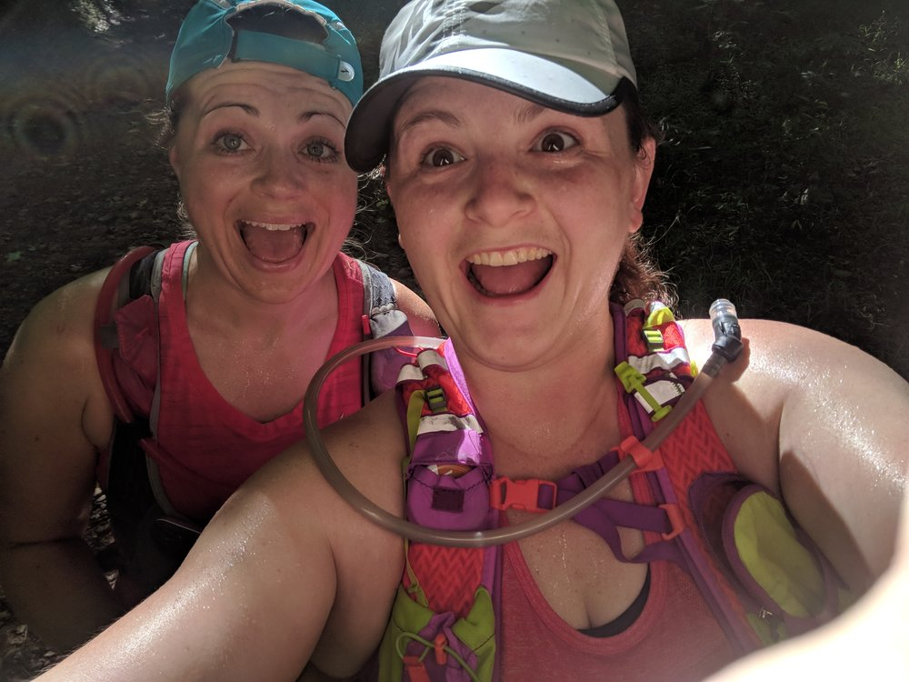 Heather and I were way super excited about trail running. Well, I was super excited about it. Heather was trying to be excited for me. (Sidenote: the only times I take selfies are on trail runs apparently. So enjoy all the selfie pics in this post!)