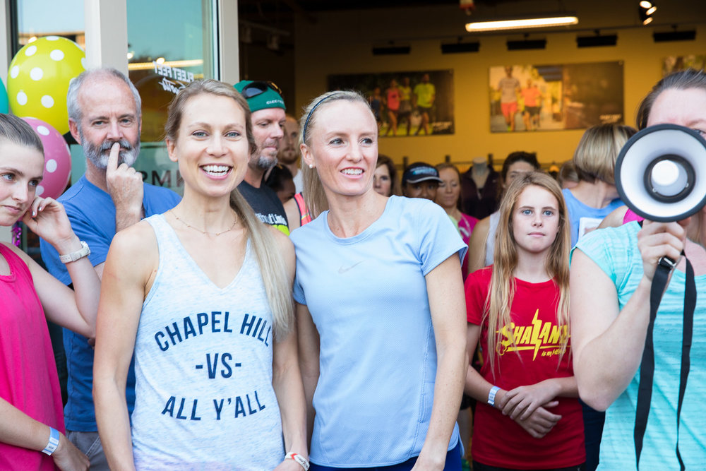 Elyse Kopecky and Shalane Flanagan promoting their book  Run Fast, Eat Slow  at Fleet Feet Carrboro.