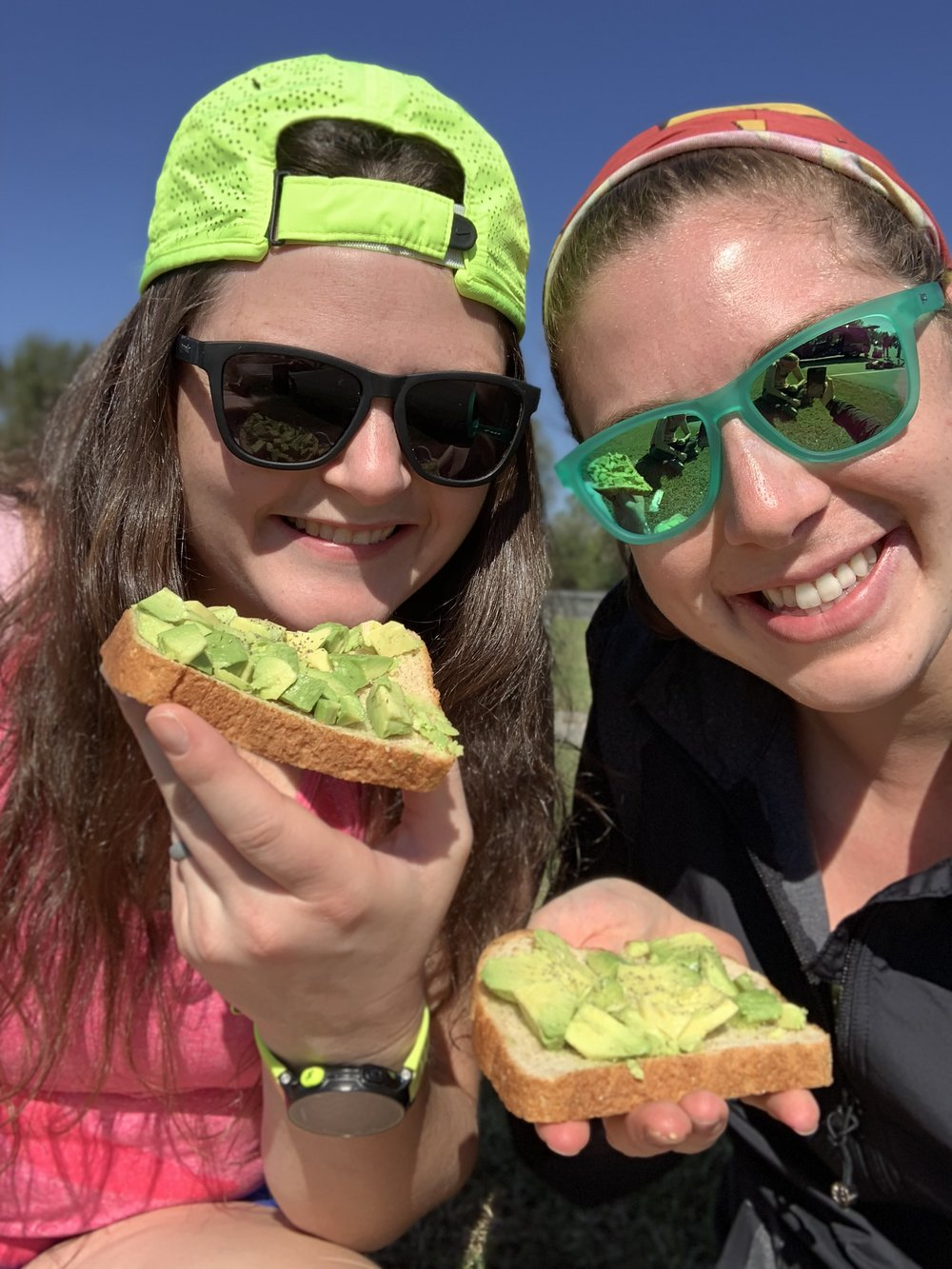 "Avocado ""toast"" on the road. It's the pre-long run breakfast of champions! Photo courtesy of Lauren Howard."