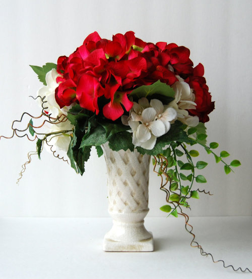 Silk floral arrangement red and white hydrangeas artificial silk floral arrangement red and white hydrangeas artificial hydrangeas classic flower arrangement classic flowers hydrangea arrangements mightylinksfo