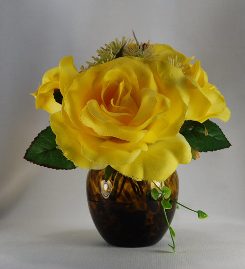Spring Floral Arrangement Silk Roses In Brown Glass Vase Yellow