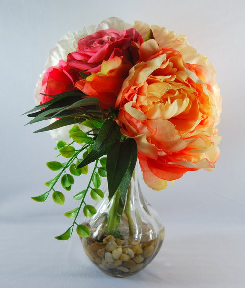 Spring Floral Arrangement Silk Peonies In Glass Vase Peach Peony