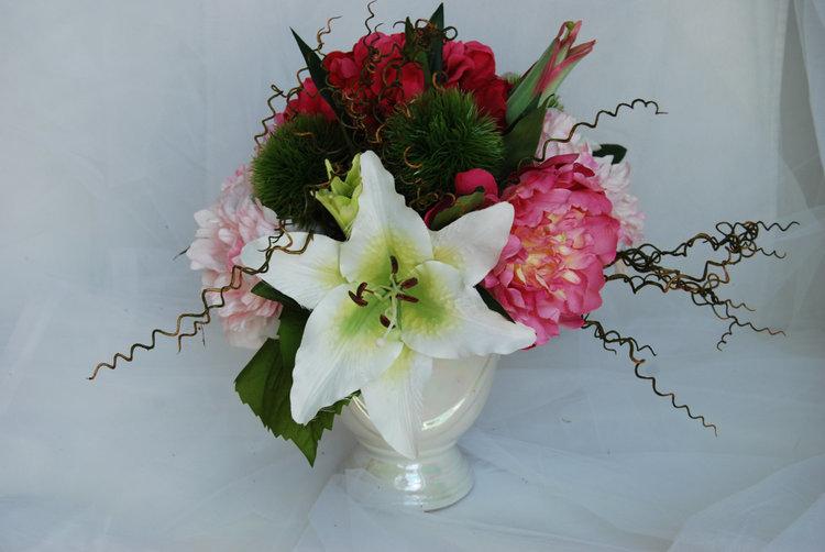 Silk Flower Arrangements Pink Peony Hydrangeas Tiger Lillies And