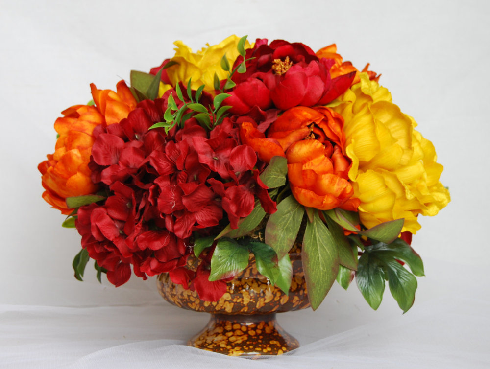 Silk Flower Arrangements  Dining Table Arrangements, Dining Table  Centerpieces, Peony Centerpiece, Flower Centerpieces, Orange And Yellow