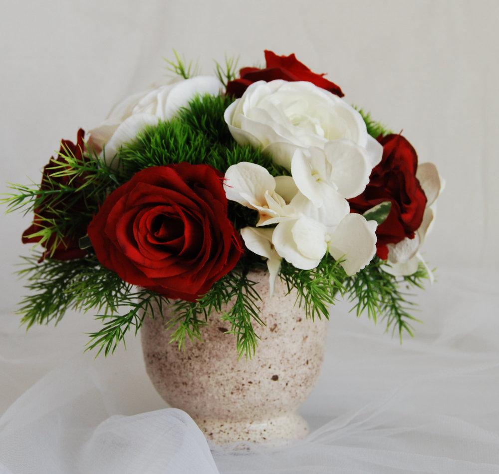 Silk Floral Arrangement  Faux Red Roses, Artificial White Hydrangeas, Faux Flower  Arrangement, Home Decor Flower, Modern Floral Arrangements